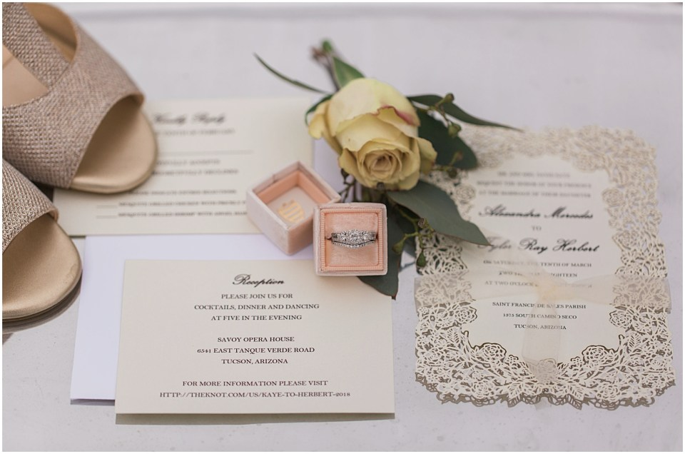 Bridal Details and Jewelry for a Tucson Wedding at Savoy Opera House.