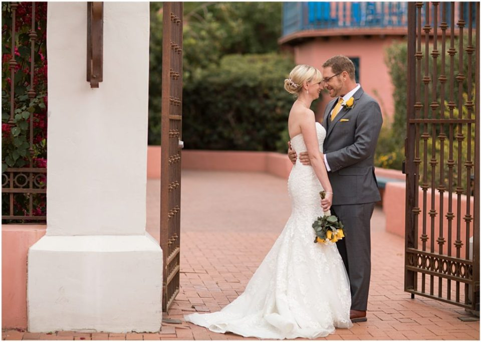 Bride and Groom First Look at Historical Arizona Inn, Tucson, Arizona