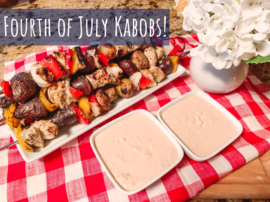 Grilled chicken and vegetable kabobs with french onion dip.