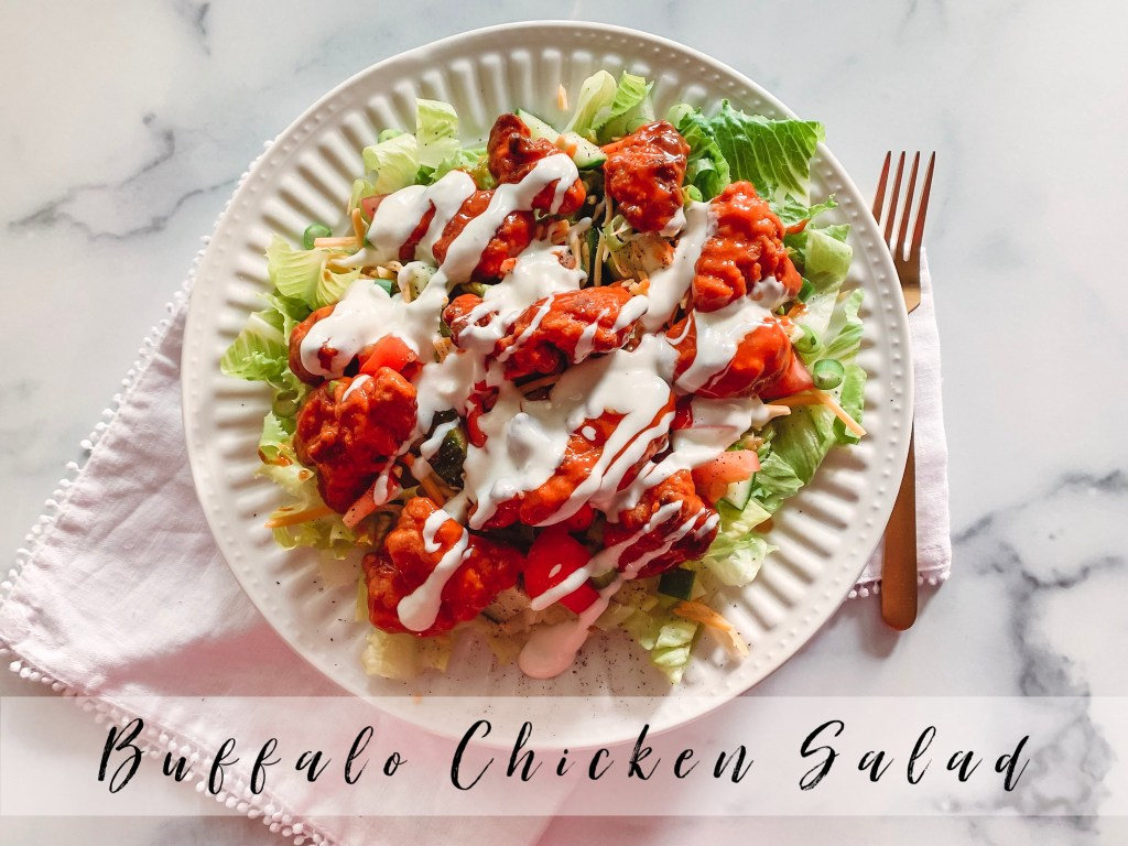 A good buffalo chicken salad can always hit the spot! Here is a quick version you can make at home with air fried popcorn chicken!