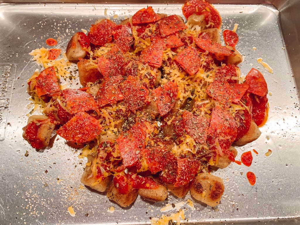 This pizza inspired cauliflower gnocchi is a tasty twist on a delicious Trader Joe's find!  Make it your own with different toppings too!