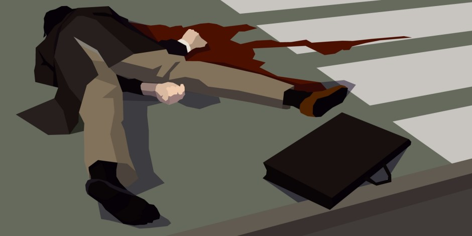 Image of a business man lay dead on the floor