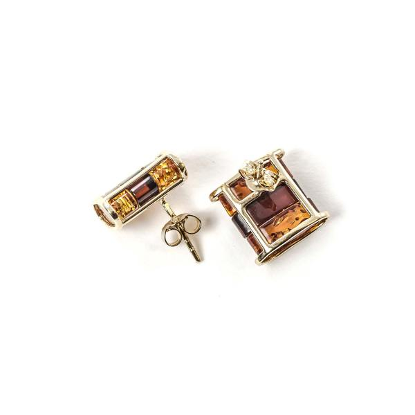 Amber Earrings with 14k Gold with Push clasp