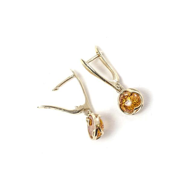 14k Gold/Amber Earrings Cognac Half Rounds