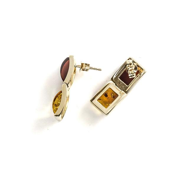 14k Gold/Amber Earrings with Two Natural Amber Beads