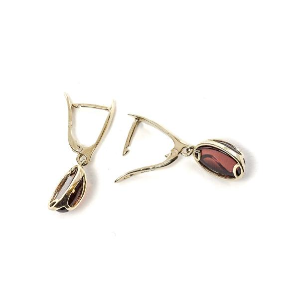 gold-earrings-14k-with-natural-baltic-amber-orange-cherry