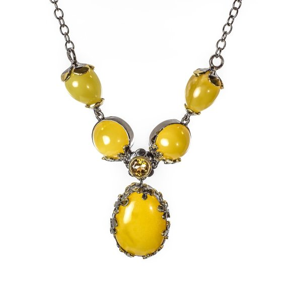 silver-necklace-with-gold-plated-silver-pendant-with-amber-stone-milfay-view
