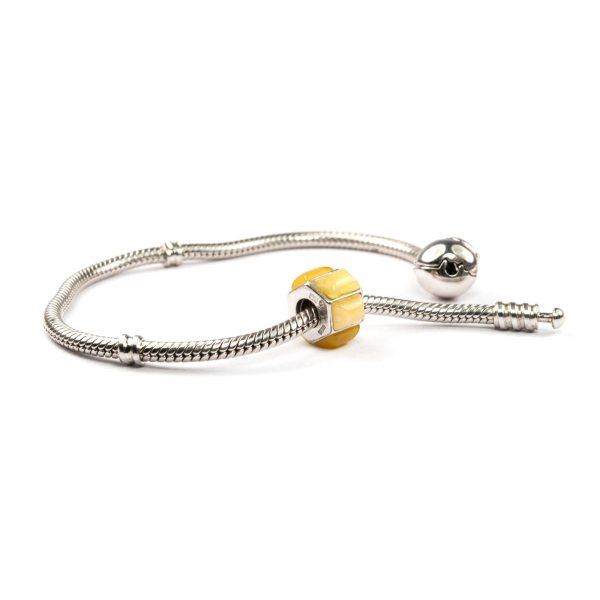Charm for bracelet with amber on bracelet