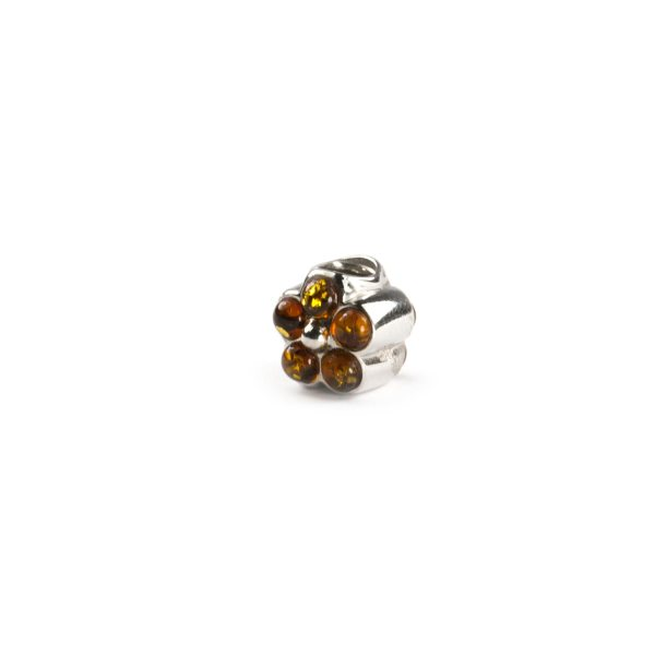 Pandora Style Silver Charm with Amber side