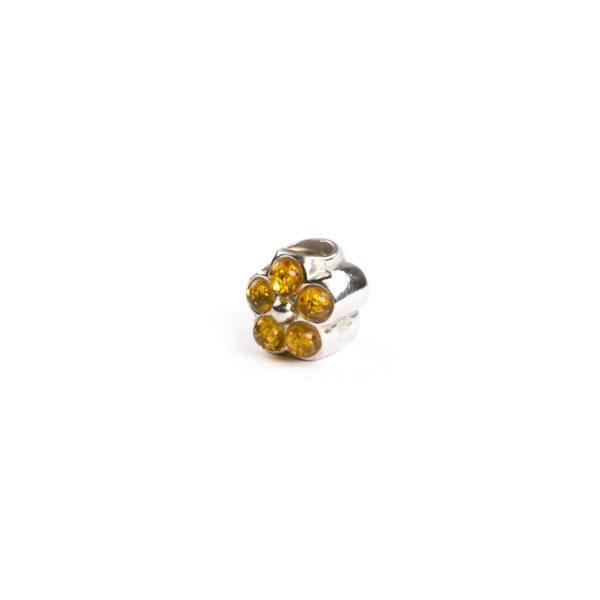 Pandora Style Amber Charm Flower side