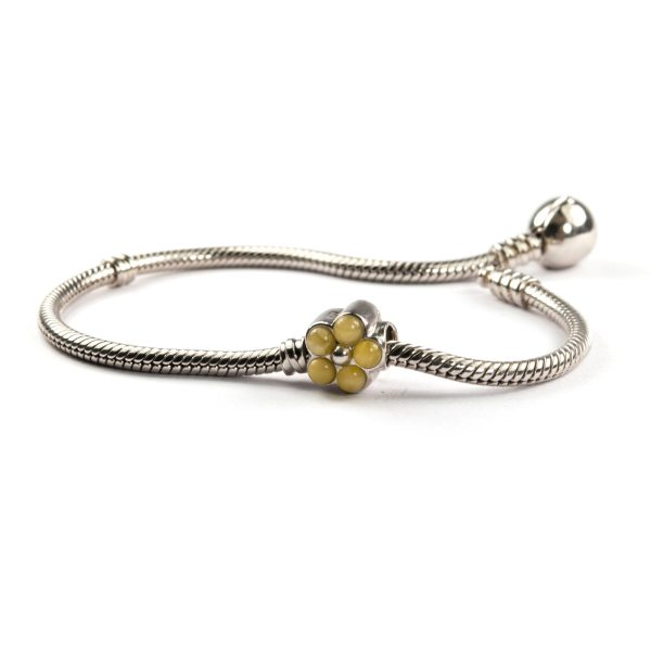Pandora Style Amber Charm Flower Yellow With Bracelet