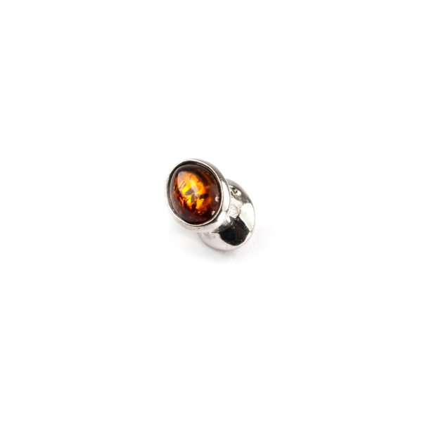 Pandora Style Bead with Cognac Amber Side