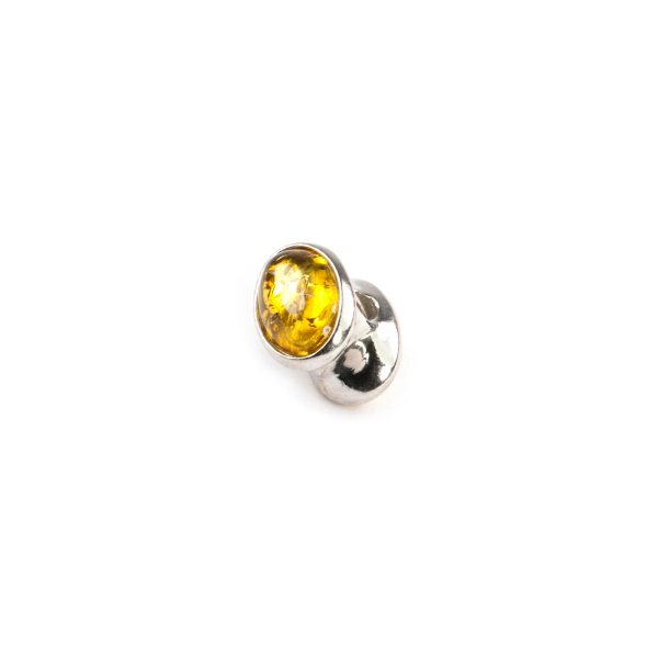 Pandora style bead with yellow amber side