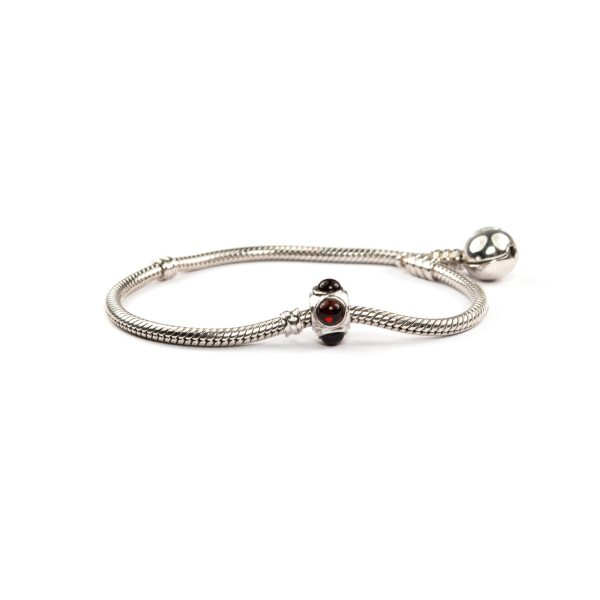 Silver Charm with Cherry Amber on Bracelet