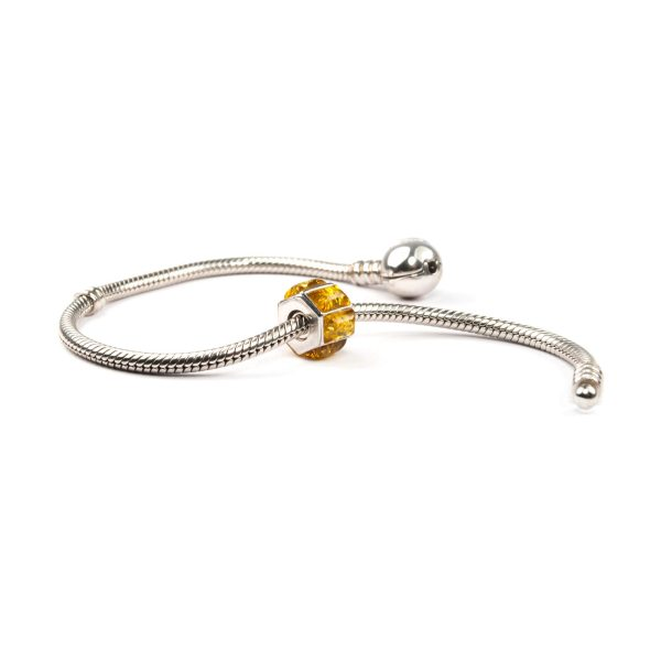 Sterling Charm wirh Yellow Amber Beads on Bracelet