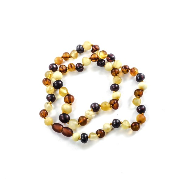 Unpolished Multi Color Amber Necklace on Table
