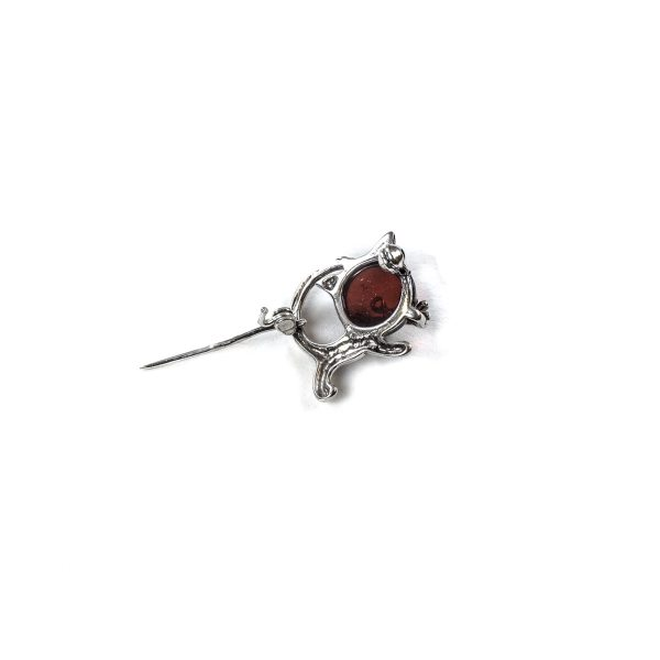 Funny Silver Brooch with Cherry Amber Bottom