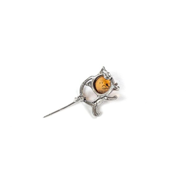 Funny Silver Brooch with Cognac Amber Bottom