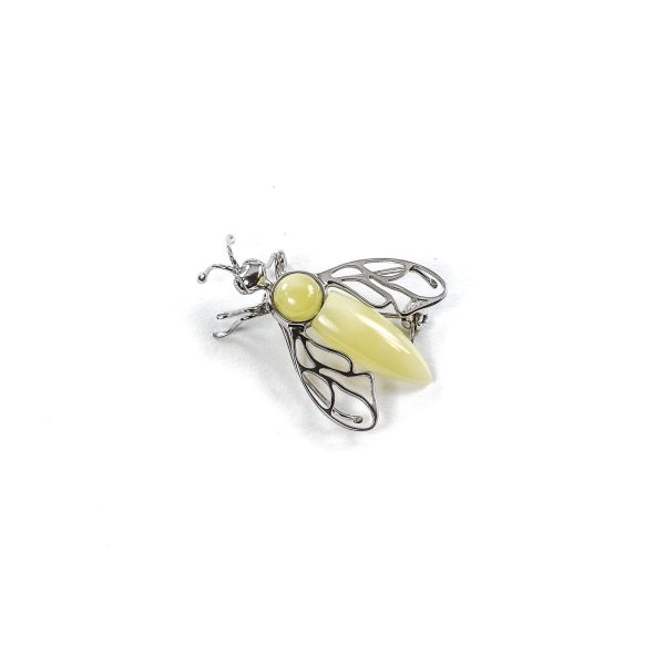 Silver and Yellow Amber Brooch Top
