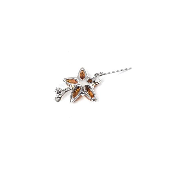 Siver Brooch with Cognac Amber bottom