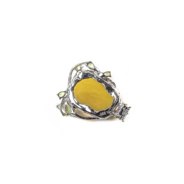 Butterscotch Amber Pendant with Peridot Backside