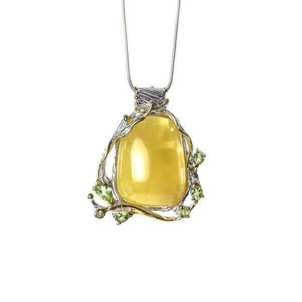 Butterscotch Amber Pendant with Peridot with Necklace