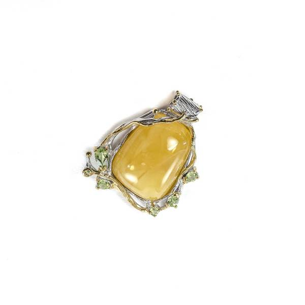 Butterscotch Amber Pendant with Peridot
