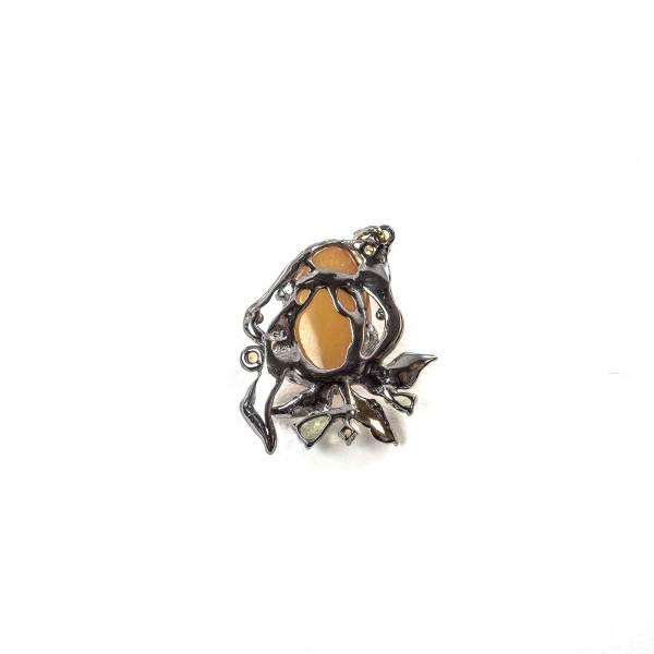 Elegant Pendant with Yellow amber and Citrini back
