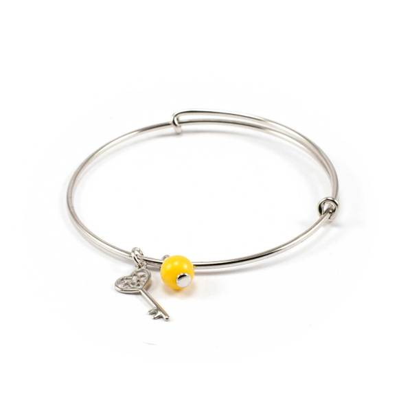 Silver String bracelet with Amber