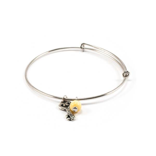 Silver Bracelet with Amber and Key Pendant