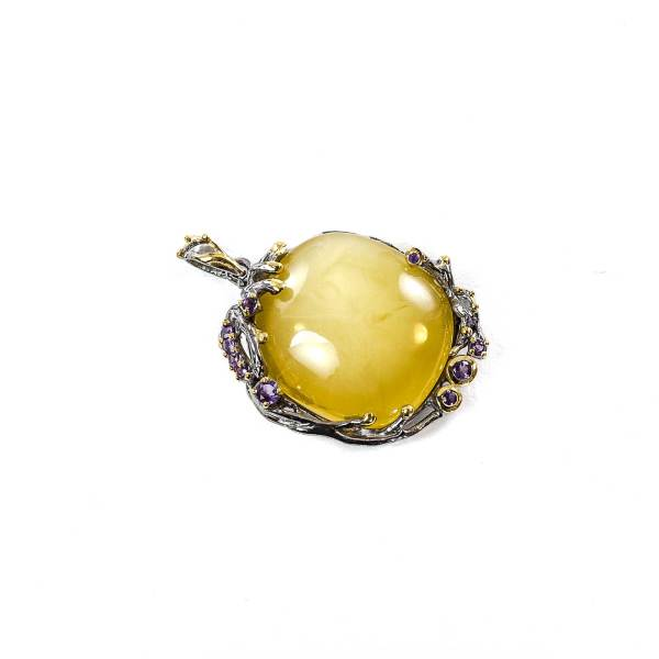 Silver Frame Vintage Pendant with Amber And Amethyst