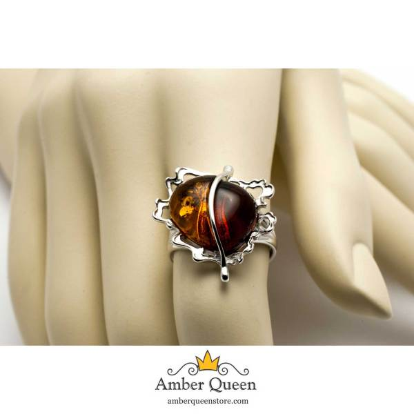 Sterling Silver Ring With Two Amber Stones On Hand