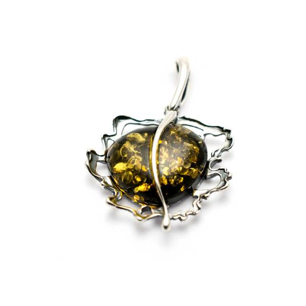 Vintage Sterling Silver Pendant with Green Amber 2
