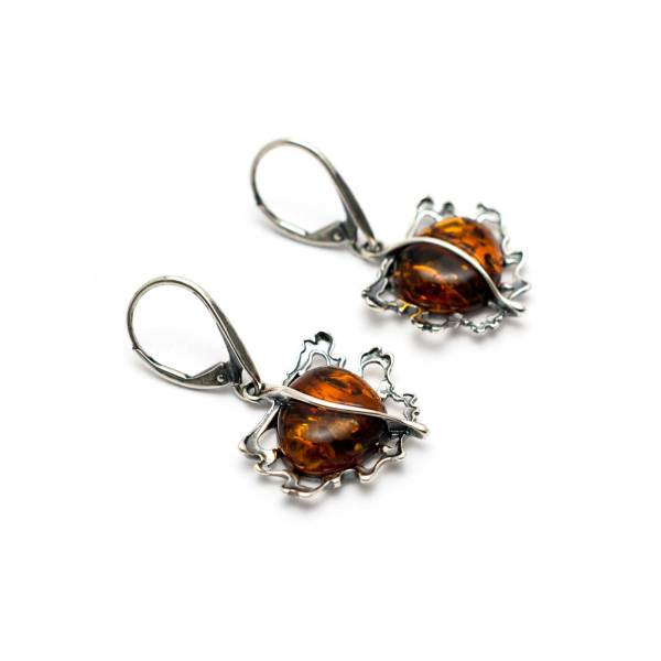 Vintage Cognac Color Amber Earrings 2