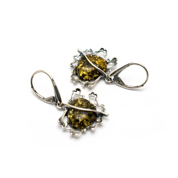 Vintage Cognac Color Amber Earrings 3