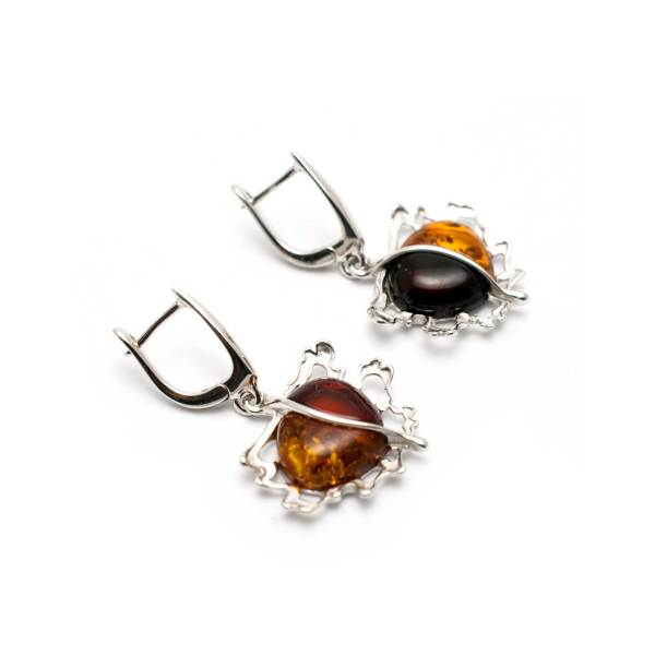 Vintage Two Colors Amber Earrings