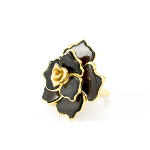Gilded Silver Flower Ring with Cherry Amber