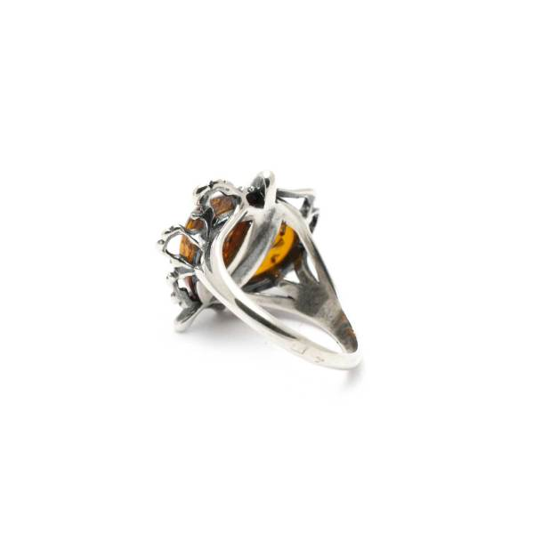 Vintage Silver Ring with Cognac Amber Backside