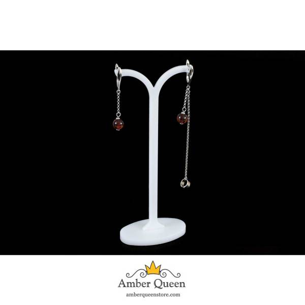 Stylish Silver Earrings with Cognac Ball on String
