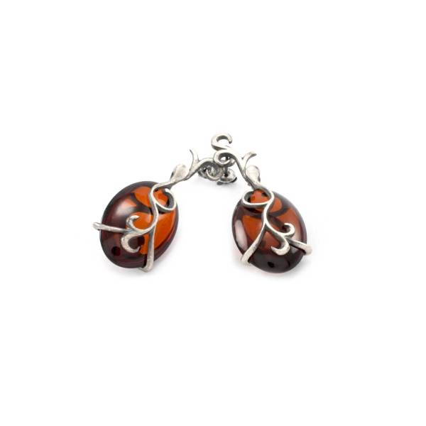 Vinatage Style Azure Amber Cherry Earrings 4