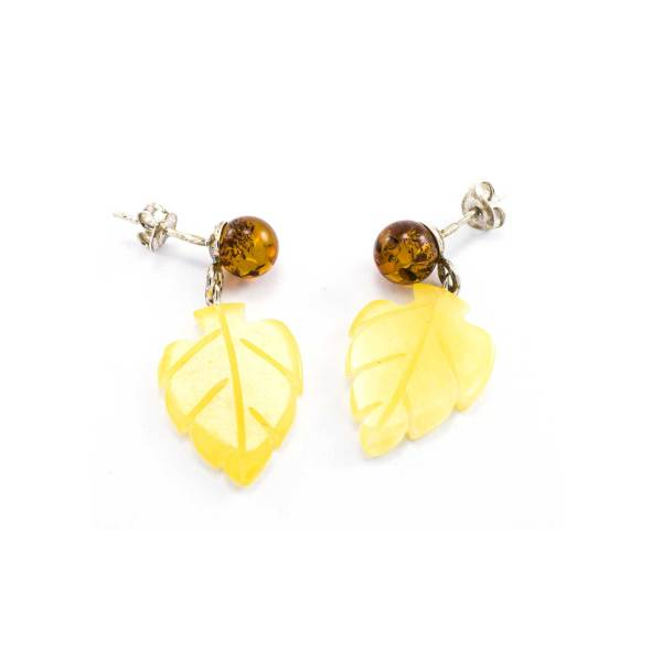 Delicate Yellow and Cognac Amber Earrings Leaf Style