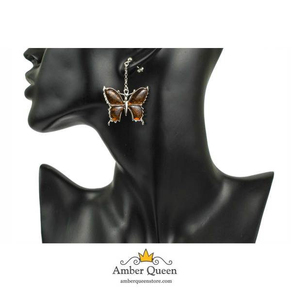 Silver Butterfly Earrings with Cognac Amber on Mannequin