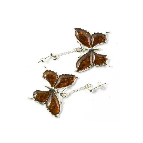 Silver Butterfly Earrings with Cognac Amber