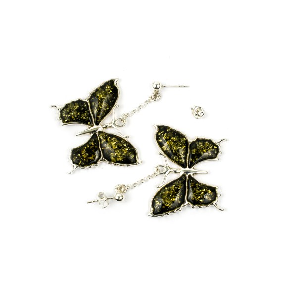 Silver Earrings Butterfly with Green Amber