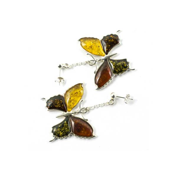 Silver Butterfly Earrings with Multi Color Amber