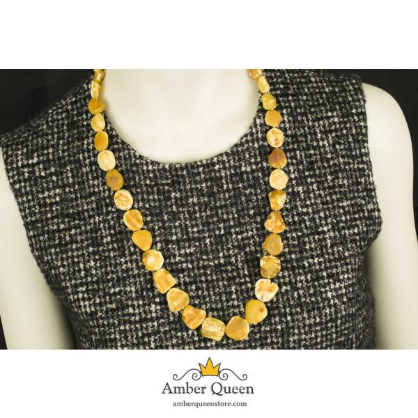 Healing Natural Amber Necklace on Mannequin Close