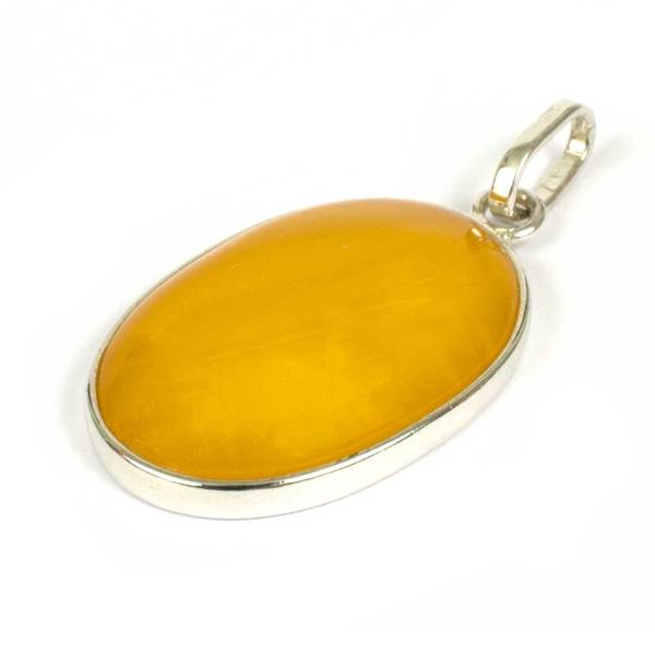 Honey Amber Pendant in Silver