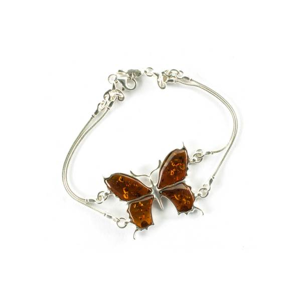 Thin Silver Butterfly Bracelet with Sparkling Cognac Amber