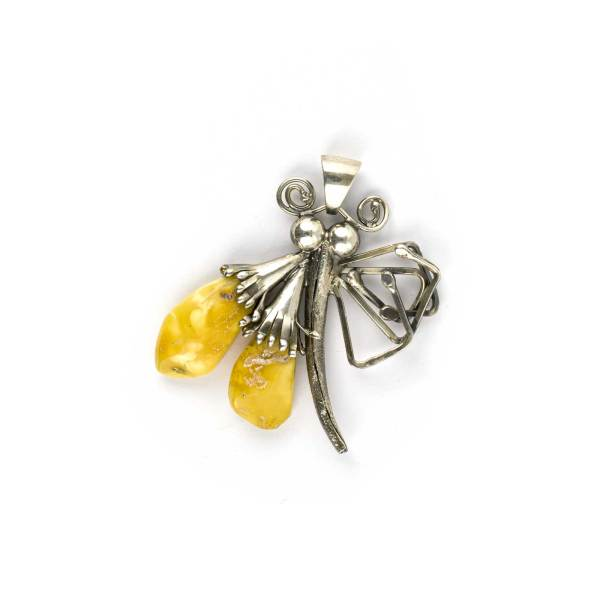 Vintage Silver Pendant with Amber