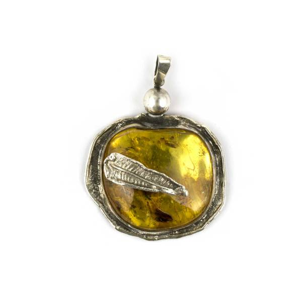 Vintage Massive Amber Pendant Medallion with Insect Wings Inclusions